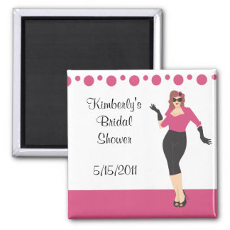 Pink pin up girl bridal shower magnet party favor