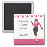 Pink pin up girl bridal shower magnet party favour