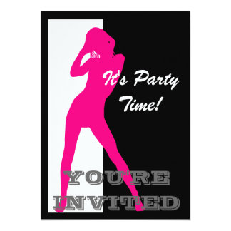Pink pin up girl on black and white party 13 cm x 18 cm invitation card