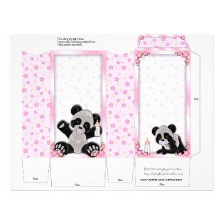 Pink Pinch Box Party Favors Panda bear Baby Shower Flyer