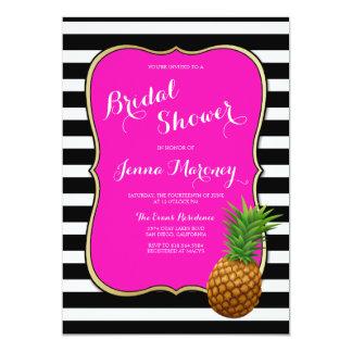 Pink Pineapple Bridal Shower Black White Stripes Card