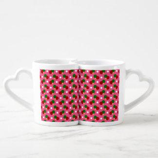 Pink ping pong pattern lovers mug sets