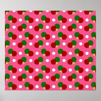 Pink ping pong pattern poster