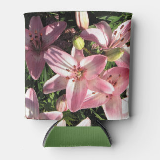Pink, Pink White Asiatic Lilies Can Cooler