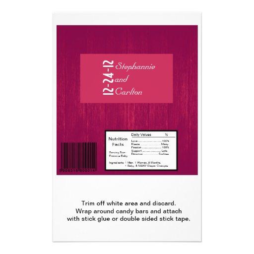 Pink/Pink Wood Grain Wedding Candy Wrapper Custom Flyer
