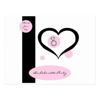 Pink Pinstripe Bachelorette Party Postcard