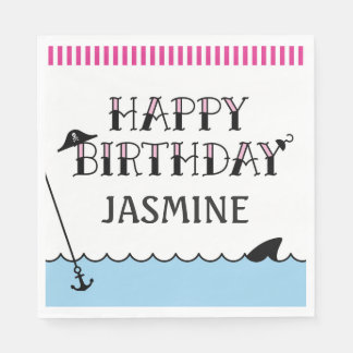 Pink Pirate Birthday Party Paper Napkin