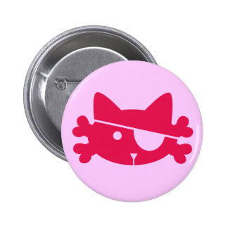 Pink Pirate Cat - Button