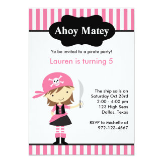 Pink Pirate Girl Birthday Invitations