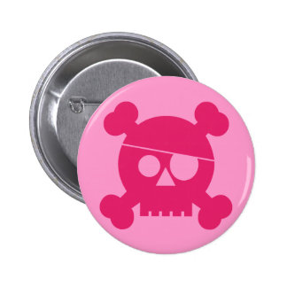 Pink Pirate Skull - Button