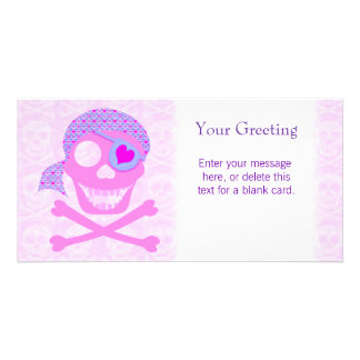 Pink Pirate Skull Custom Card