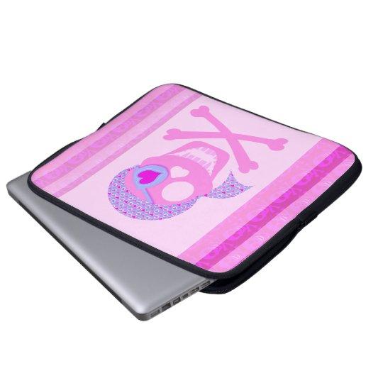 Pink Pirate Skull Laptop Sleeve