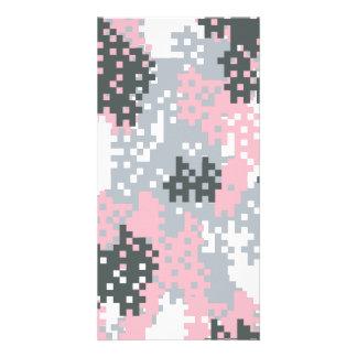 Pink Pixel Camouflage Custom Photo Card
