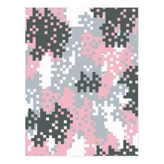 Pink Pixel Camouflage Postcard