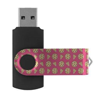 Pink pizza pattern swivel USB 2.0 flash drive