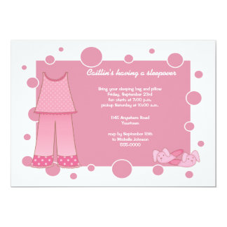Pink PJ's Sleepover Invitation