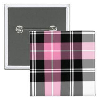 pink plaid 15 cm square badge