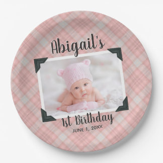 Pink Plaid 1st Birthday Photo With Name & Date Paper Plate