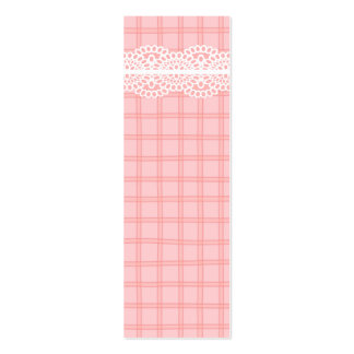 Pink Plaid and Lace Gift Tag Business Card Templates