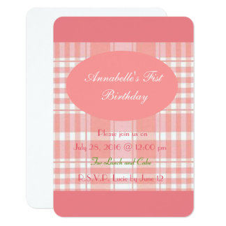 Pink Plaid baby girl invitation