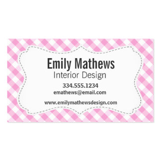 Pink Plaid; Checkered Pattern Business Card Template