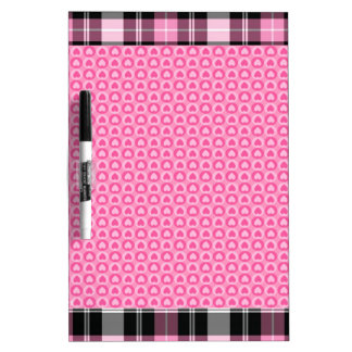 Pink Plaid Dry-Erase Whiteboard
