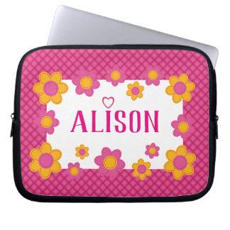 Pink plaid floral girls name cute spring design laptop sleeve