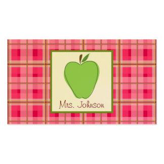 Pink Plaid & Green Apple Teacher Business Cards