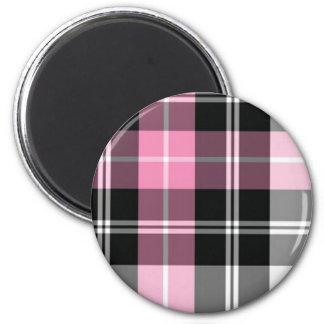 pink plaid refrigerator magnet