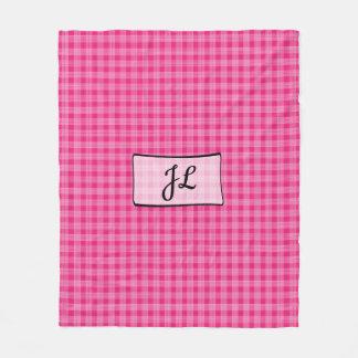Pink Plaid Monogrammed Fleece Blanket