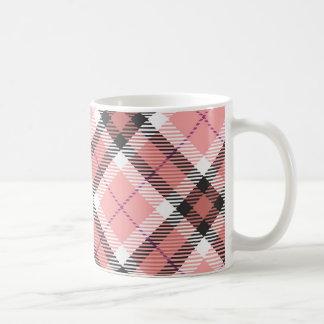 Pink Plaid Basic White Mug