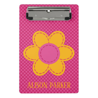 Pink plaid pattern and yellow stitched flowers mini clipboard