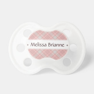 Pink Plaid Personalized Baby's Name Dummy