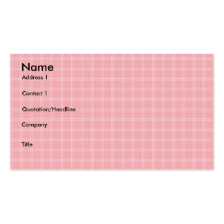 Pink Plaid Profile Card Business Card Template