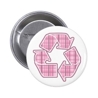Pink Plaid Recycle Sign Pin