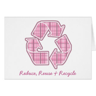 Pink Plaid Recycle Sign Greeting Card