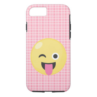 Pink Plaid Silly Emoji Smiley iPhone 7 Case