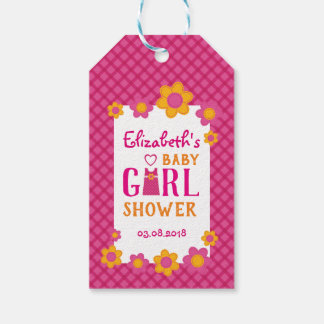 Pink plaid, spring floral baby girl shower thanks gift tags
