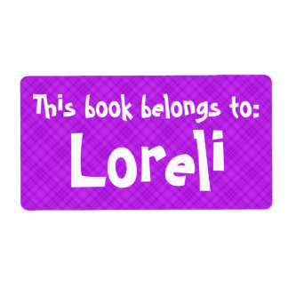 """Pink Plaid """"This Book Belongs To"""" Label Shipping Label"""