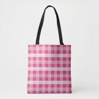 Pink Plaid Tote Bag