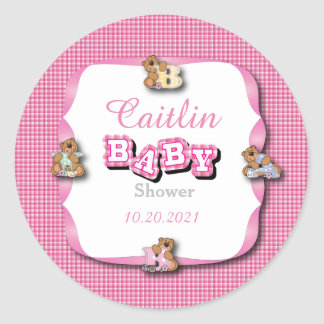 Pink Plaid with Baby Bears | Baby Girl Shower Classic Round Sticker