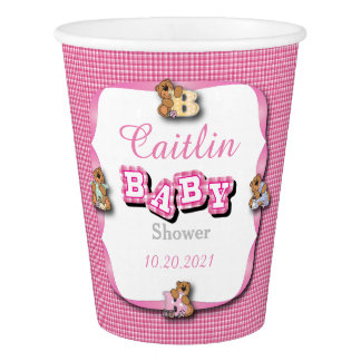 Pink Plaid with Baby Bears | Baby Girl Shower Paper Cup