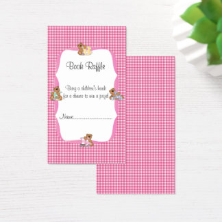 Pink Plaid with Baby Bears Theme Book Raffle Business Card