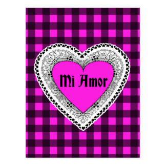 Pink Plaid with Heart Mi Amor Postcard