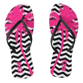 Pink Plam Tree Black Chevron Monogram Flip Flops Thongs