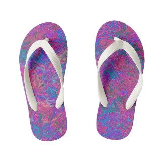 Pink Plastic Grid Abstract Art Kid's Thongs