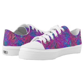 Pink Plastic Grid Colorful Swirls Abstract Art Printed Shoes