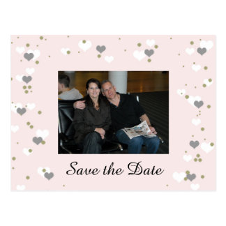 Pink Playful Hearts Save the Date Postcard