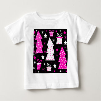 Pink playful Xmas Baby T-Shirt