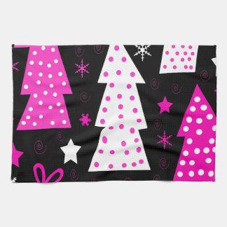 Pink playful Xmas Kitchen Towels
